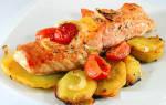 Красная рыба в духовке с картошкой