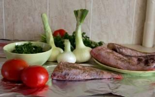 Окунь с овощами