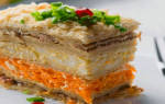 Торт с рыбной консервой из коржей наполеон