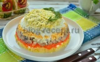 Салат мимоза рецепт с сардиной и плавленным сыром