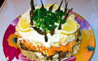 Салат рыбки в пруду со шпротами